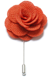Lapel Flower Pin - Rusty Orange