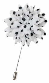 Lapel Flower Pin Dots | White Black
