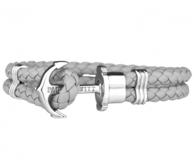 Phrep Leather Bracelet Grey - Silver