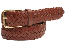 Leather Belt Woven Brown
