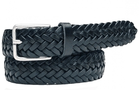 Leather Belt Woven Black