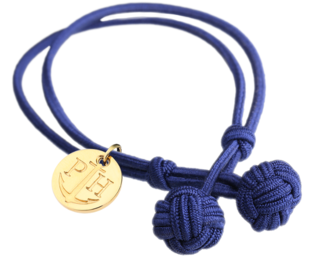 Knotbracelet Navy/Blue - Gold
