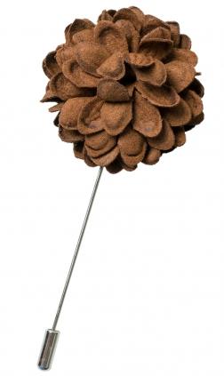 Great Brun Flower Pin För Herrar Från Neckwear, Tillverkad I 100% Polyester