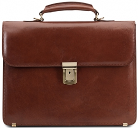Small Briefcase - Cognac Leather