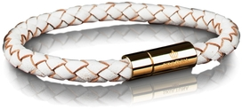 Leather Bracelet Gold 6MM - White