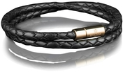 Leather Bracelet Gold 4MM - Black
