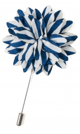 Lapel Flower Pin Striped | Navy White