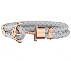 Phrep Leather Bracelet Grey - Rose Gold